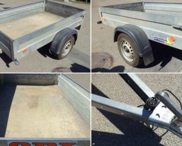 Přívěsný vozík Agados Handy, r. 2016 byl vydražen za 10.650 Kč. Odhadní cena 15.000 Kč.