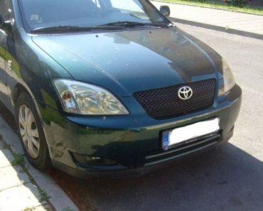 Toyota Corolla – odhadní cena 60.000 Kč. Automobil byl vydražen za 33.000 Kč.