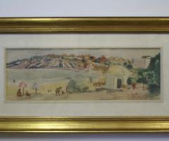 """30.11.2017 Dražba akvarelu """"Pláž v Bulharsku"""" – František Emler (1912 – 1992), sign. Vyvolávací cena 4.000 Kč."""