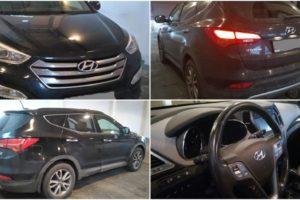 4.1.2018 Dražba automobilu Hyundai Santa FE, r. 2014. Vyvolávací cena 160.000 Kč.