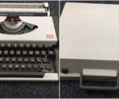11.5.2018 Dražba kufříkového psacího stroje AEG. Vyvolávací cena 50 Kč.