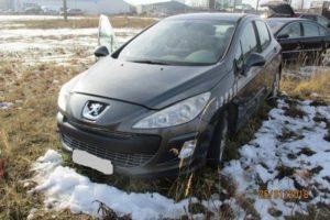 4.6.2018 Dražba automobilu Peugeot 308 1.6 hatchback, r. 2008. Vyvolávací cena 22.000 Kč.