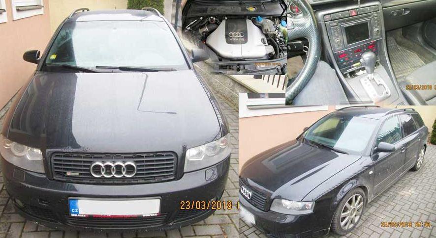 Automobil Audi A4 2,5 TDI 4×4 – odhadní cena 75.000 Kč. Vydražen za 40.000 Kč.