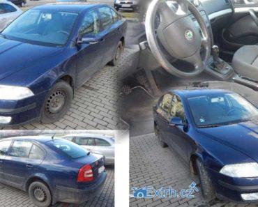 6.9.2018 Dražba automobilu Škoda Octavia II 1.6. Vyvolávací cena 38.000 Kč.