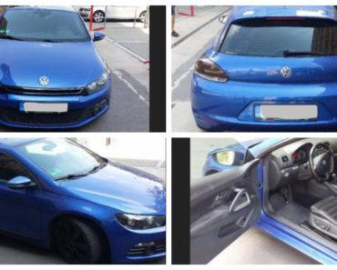 3.9.2018 Dražba automobilu VW Scirocco. Vyvolávací cena 70.000 Kč.