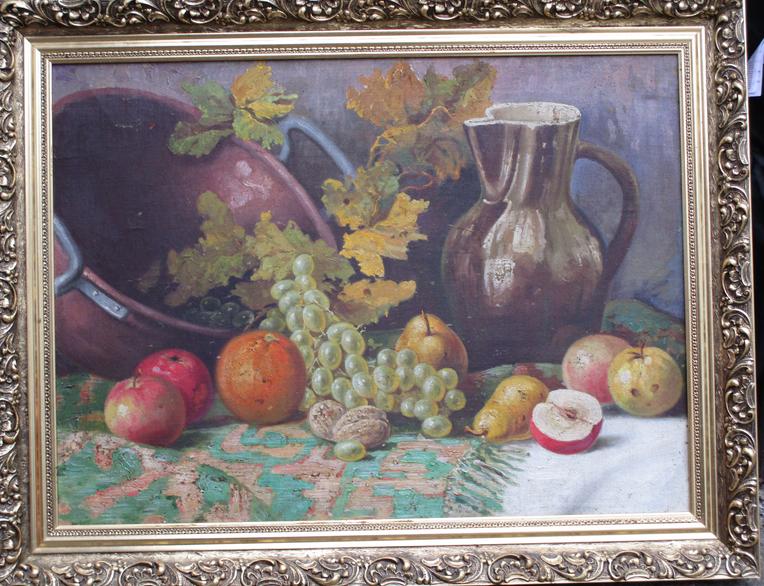 10.1.2019 Dražba obrazu - motiv džbánu a ovoce. Vyvolávací cena 1.500 Kč.