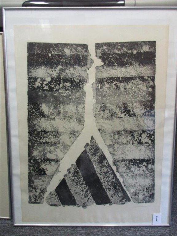 24.1.2019 Dražba umění (Kompozice lept 93 x 66 cm, Jan Měřička). Vyvolávací cena 1.050 Kč, ID418276