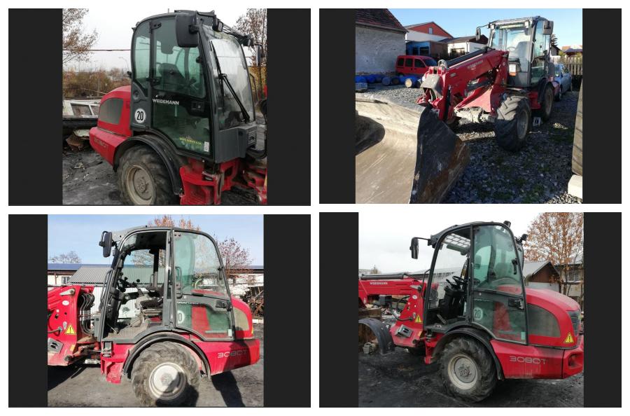 14.2.2019 Dražba traktoru WEIDEMANN 3080T. Vyvolávací cena 500.000 Kč.