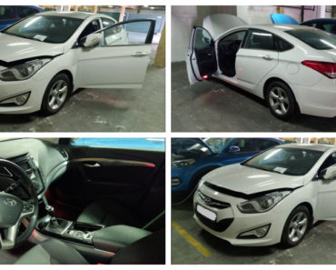 6.3.2019 Dražba automobilu Hyundai i40. Vyvolávací cena 212.550 Kč.