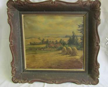 Do 7.6.2019 Aukce obrazu motiv Žně. Vyvolávací cena 1.100 Kč.