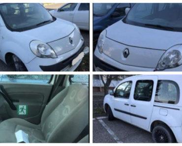 16.7.2019 Dražba automobilu Renault Kangoo. Vyvolávací cena 10.000 Kč.