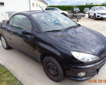 11.7.2019 Dražba automobilu Peugeot 206. Vyvolávací cena 2.000 Kč.