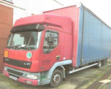 16.7.2019 Dražba nákladního automobilu DAF. Vyvolávací cena 22.000 Kč.