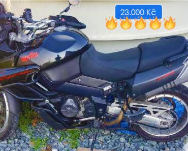 4.7.2019 Dražba motocyklu Aprilia 1000. Vyvolávací cena 23.000 Kč.