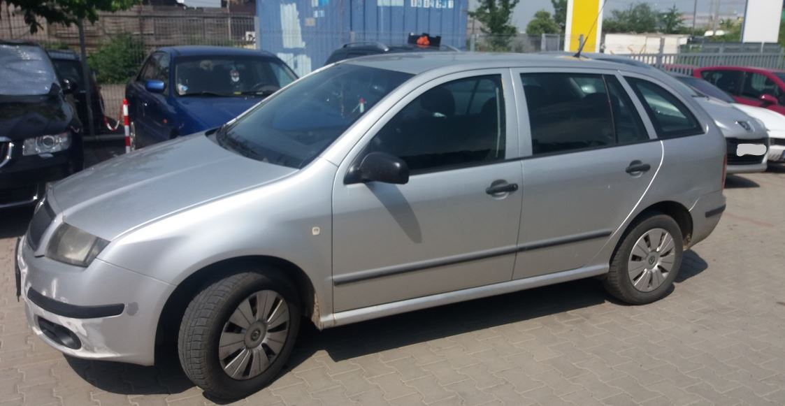 16.7.2019 Dražba automobilu Škoda Fabia 6Y, combi. Vyvolávací cena 8.000 Kč.