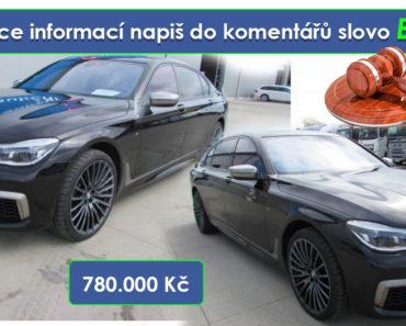 Do 20.6.19 Aukce automobilu BMW M760i xDrive, Vyvolávací cena 780.000 Kč. ID nabídky 580431