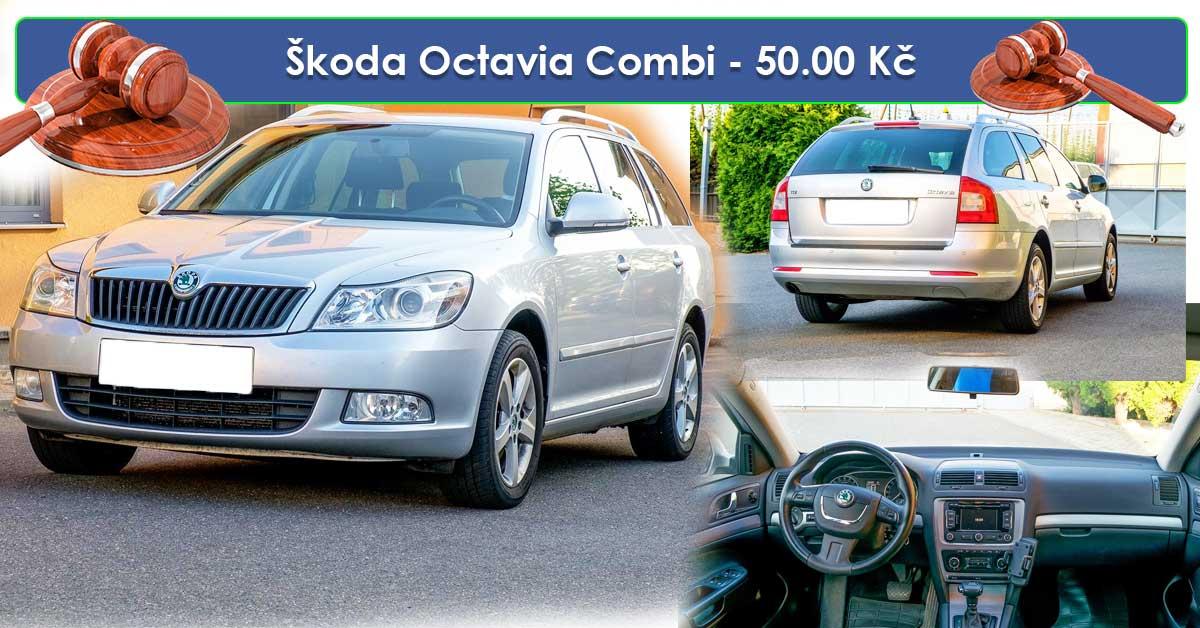 19.7.2019 Dražba automobilu Škoda Octavia Combi. Vyvolávací cena 50.000 Kč.
