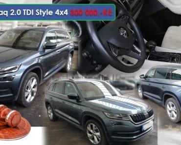 9.9.2019 Dražba automobilu Škoda Kodiaq 2.0 TDI Style 4x4. Vyvolávací cena 300.000 Kč, ➡️ ID599305