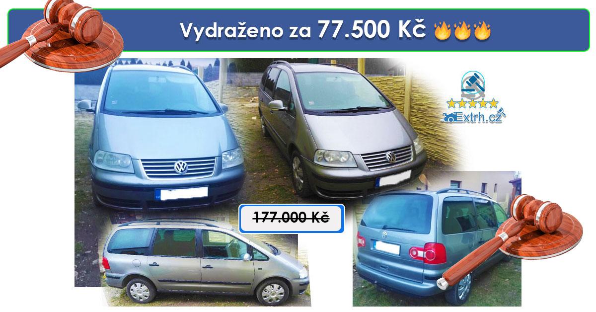 Dražba automobilu  VW Sharan 4×4 1,9 TDI – vydraženo za 77.500 Kč 