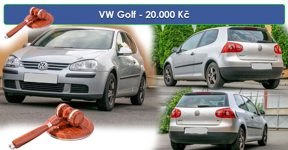 19.7.2019 Dražba automobilu VW Golf. Vyvolávací cena 20.000 Kč.