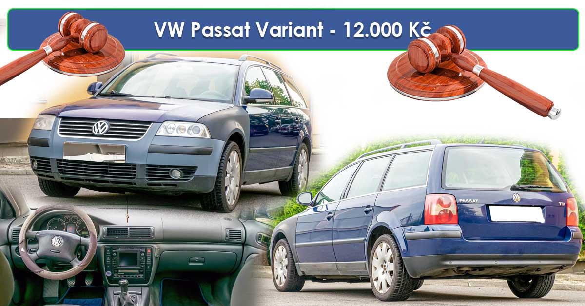 19.7.2019 Dražba automobilu VW Passat Variant. Vyvolávací cena 12.000 Kč.