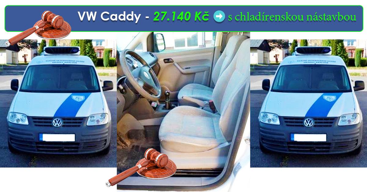 Do 20.8.2019 Aukce automobilu VW Caddy s chladírenskou nástavbou. Vyvolávací cena 27.140 Kč, ➡️ ID607850
