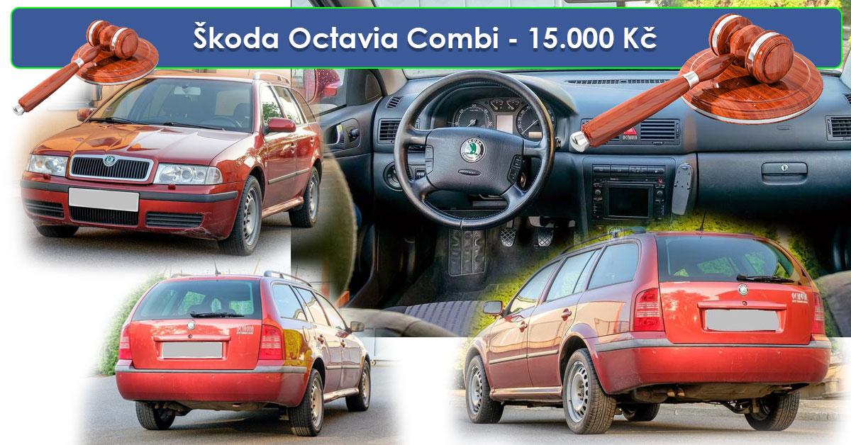 19.7.2019 Dražba automobilu Škoda Octavia 1,9 TDi, nafta i nafta bio 48. Vyvolávací cena 15.000 Kč.