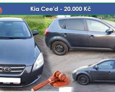 13.8.2019 Dražba automobilu Kia Cee'd. Vyvolávací cena 20.000 Kč, ➡️ ID598074