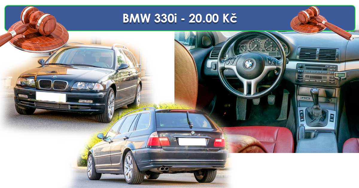 19.7.2019 Dražba automobilu BMW 330i. Vyvolávací cena 20.000 Kč.