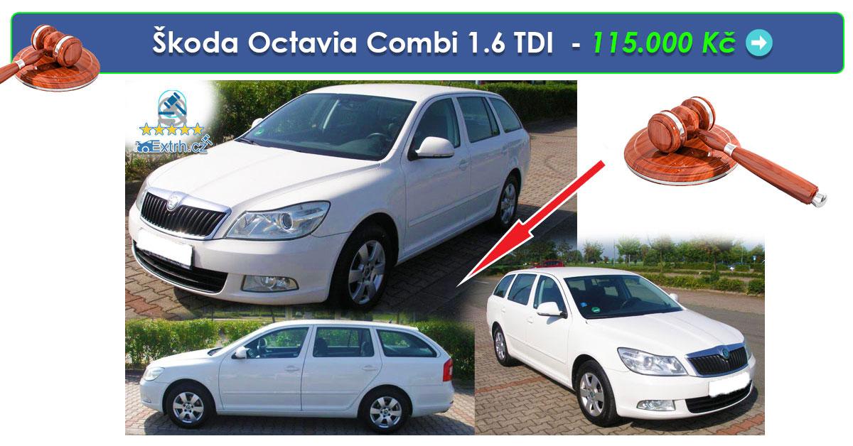 Zisková Dražba Škoda Octavia Combi 1.6 TDI  – 115.000 Kč ➡️