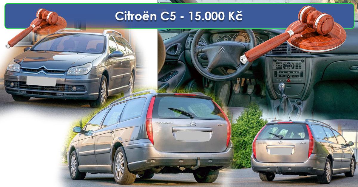19.7.2019 Dražba automobilu Citroën C5. Vyvolávací cena 15.000 Kč.