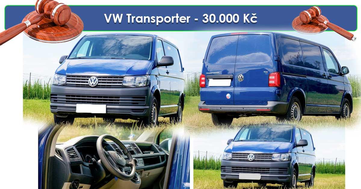 19.7.2019 Dražba automobilu VW Transporter. Vyvolávací cena 30.000 Kč.