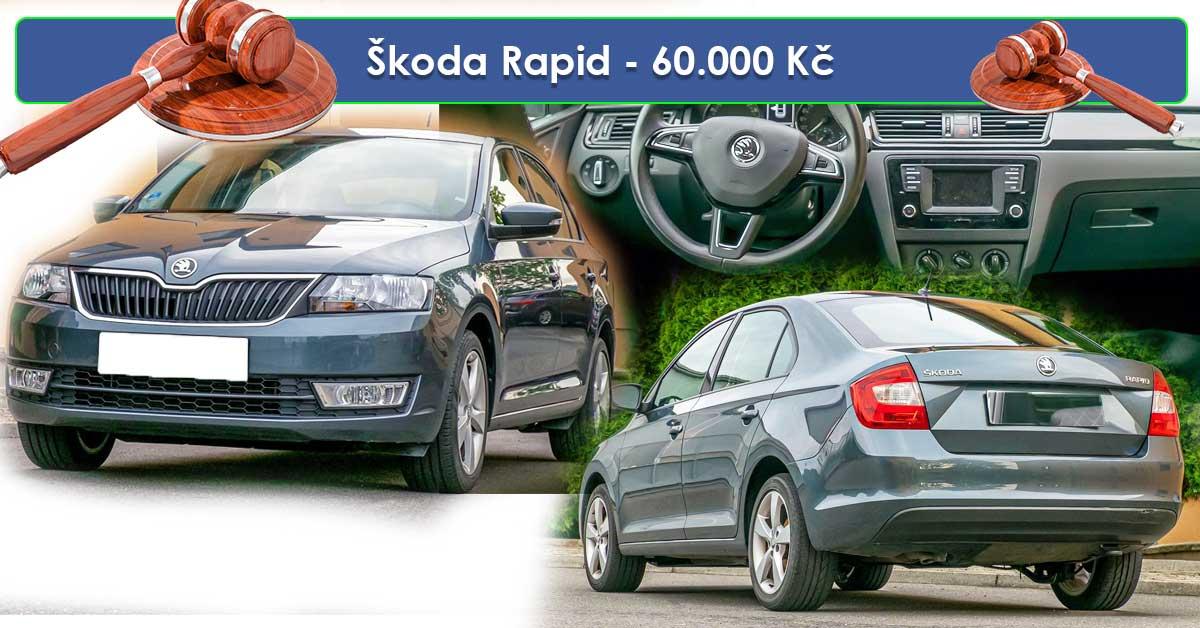 19.7.2019 Dražba automobilu Škoda Rapid. Vyvolávací cena 60.000 Kč.