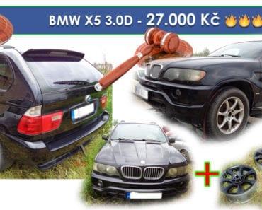 22.8.2019 Dražba automobilu BMW X5 3.0D + 4ks alu a 4ks plech disků. Vyvolávací cena 27.000 Kč, ➡️ ID600632