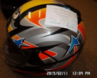 11.9.2019 Dražba motocyklové helmy. Vyvolávací cena 200 Kč.