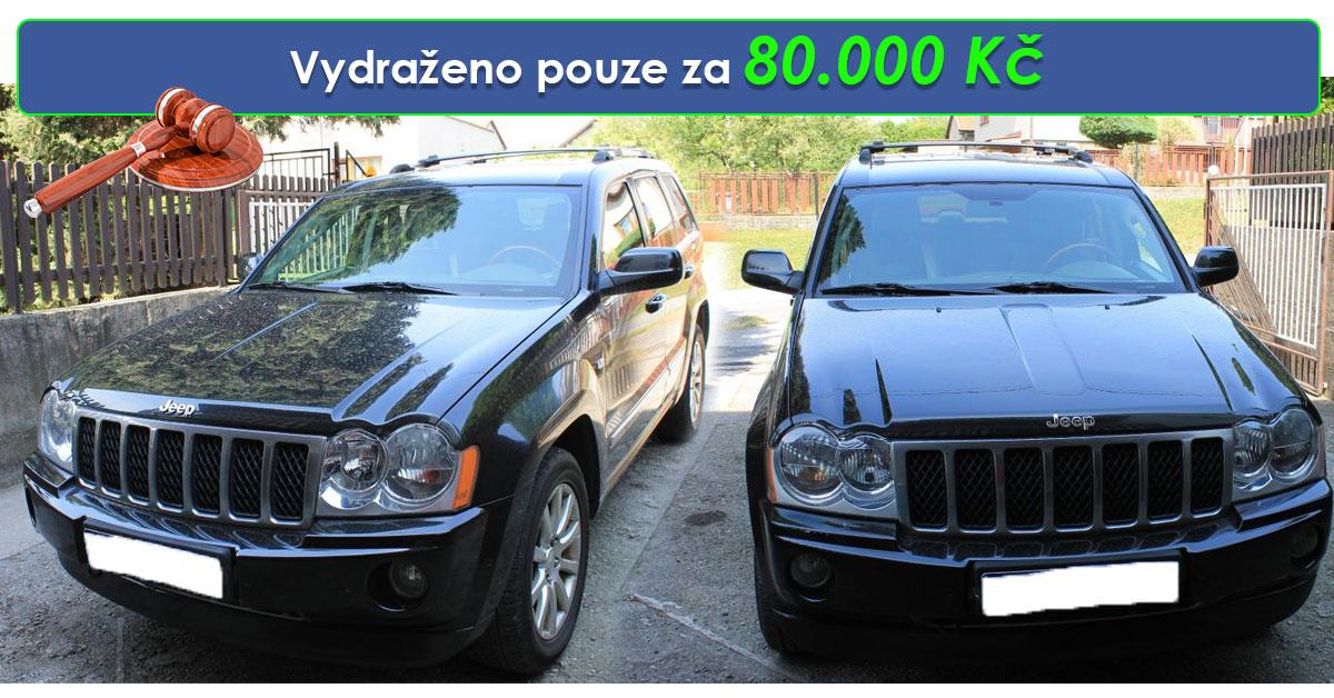 Zisková soudní dražba auta JEEP Grand Cherokee – vydraženo pouze za vyvolávací cenu 80.000 Kč