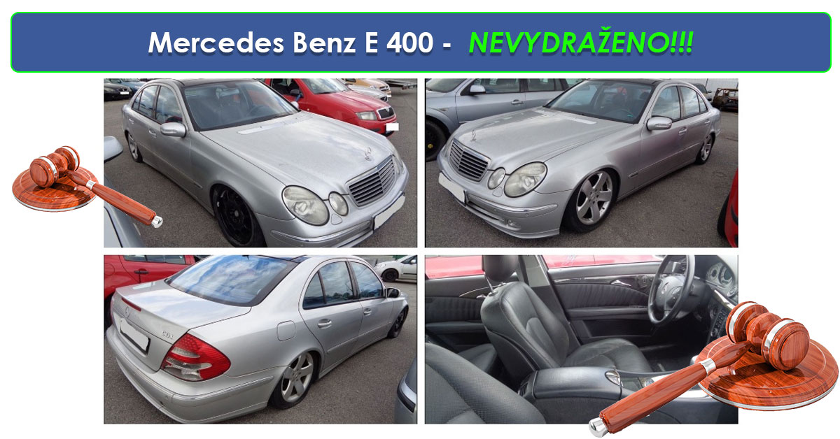 Zisková Dražba Mercedes Benz E 400 – vůbec nevydraženo!