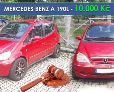 17.9.2019 Dražba automobilu MERCEDES BENZ A 190L. Vyvolávací cena 10.000 Kč, ➡️ ID620911