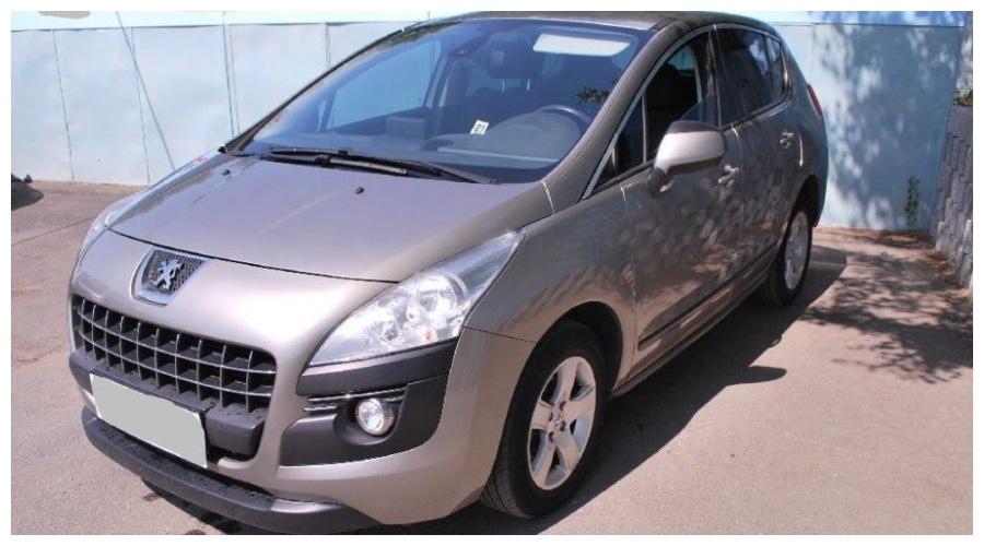 7.9.2019 Dražba automobilu Peugeot 3008. Vyvolávací cena100.000 Kč.