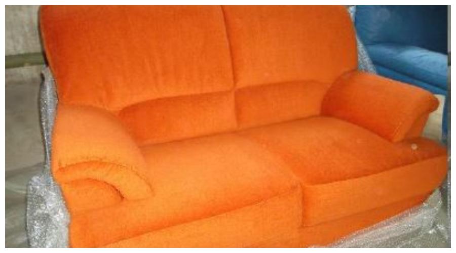 7.10.2019 Dražba nábytku (Sedačka dvojsed, látka oranžová). Vyvolávací cena 2.500 Kč, ➡️ ID645280