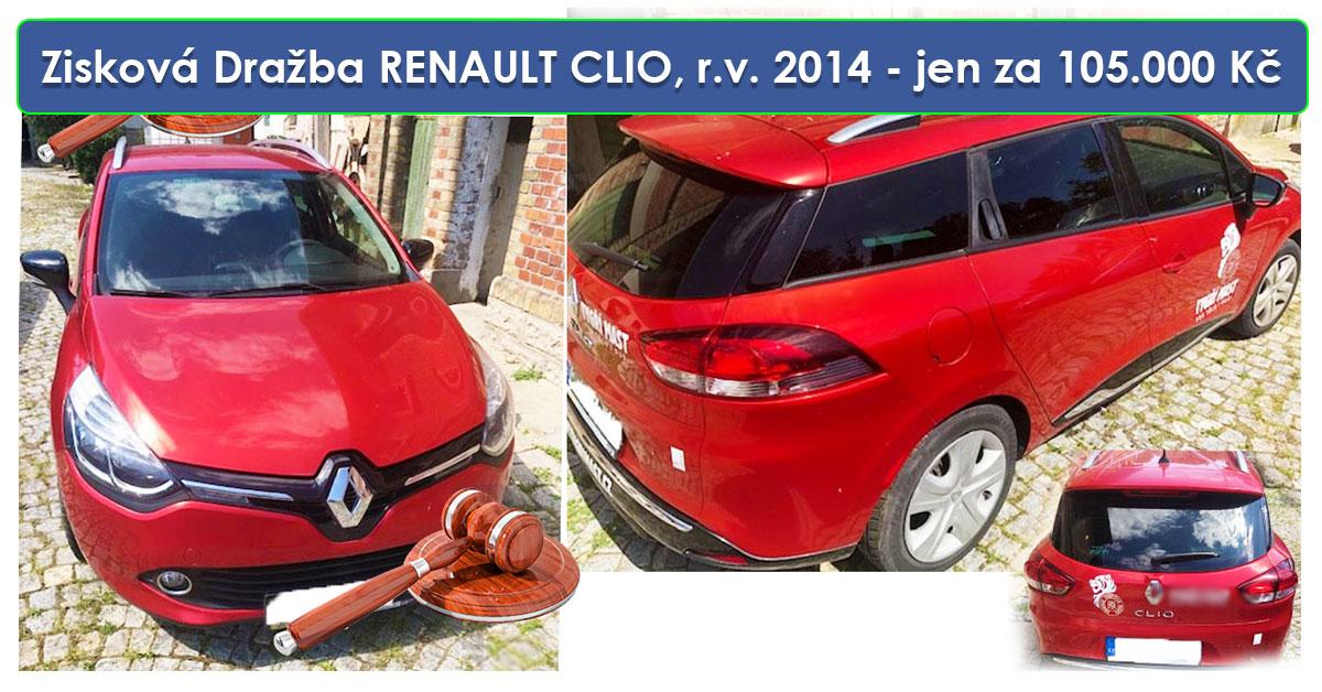 Zisková Dražba RENAULT CLIO, r.v. 2014 – vydraženo jen za 105.000 Kč