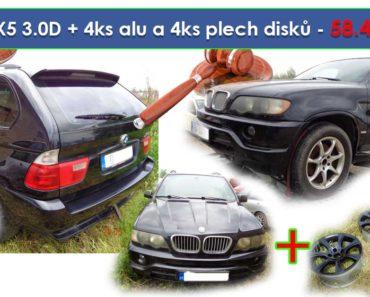 Zisková dražba BMW X5 3.0D + 4ks alu a 4ks plech disků - vydraženo jen za 58.400 Kč