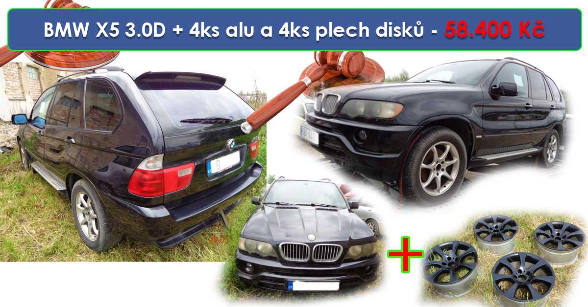 Zisková dražba BMW X5 3.0D + 4ks alu a 4ks plech disků – vydraženo jen za 58.400 Kč
