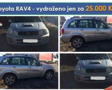 Zisková Dražba Toyota RAV4 - vydraženo jen za 25.000 Kč