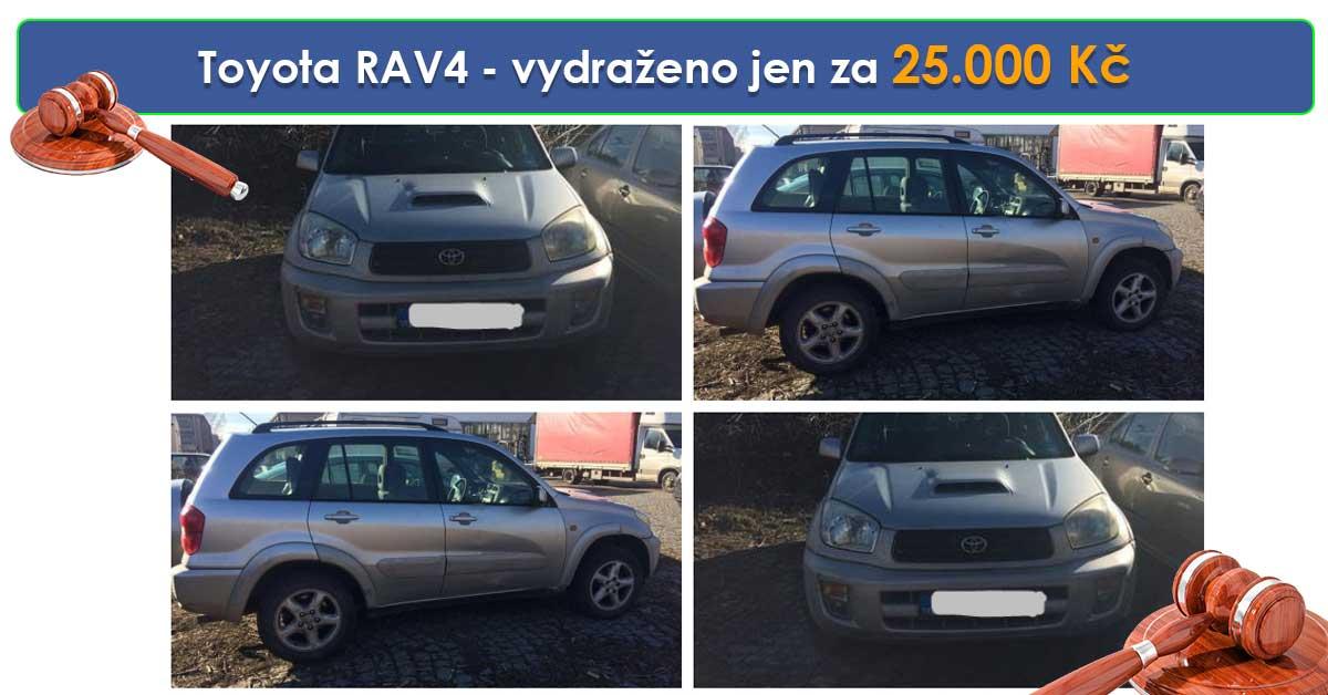 Zisková Dražba Toyota RAV4 – vydraženo jen za 25.000 Kč