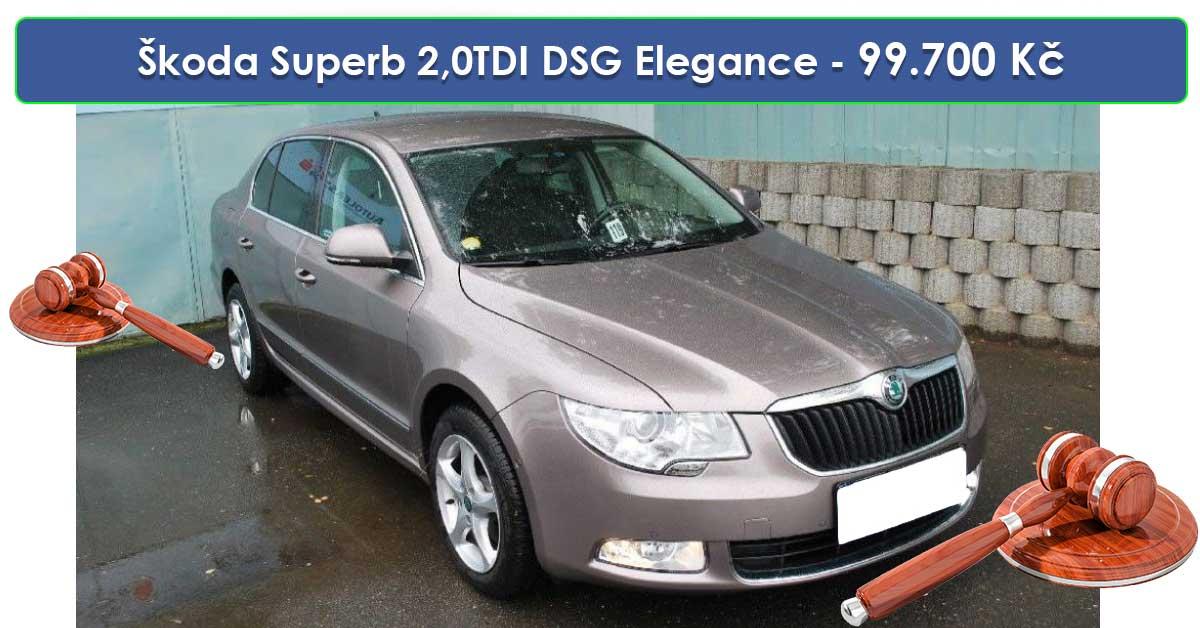 Do 19.9.19 Aukce automobilu Škoda Superb 2,0TDI DSG Elegance, Vyvolávací cena 99.700 Kč. ID nabídky 644437
