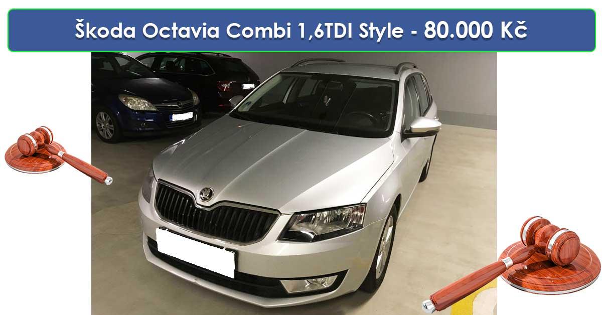 Do 19.9.19 Aukce automobilu Škoda Octavia Combi 1,6TDI Style, Vyvolávací cena 80.000 Kč. ID nabídky 644449