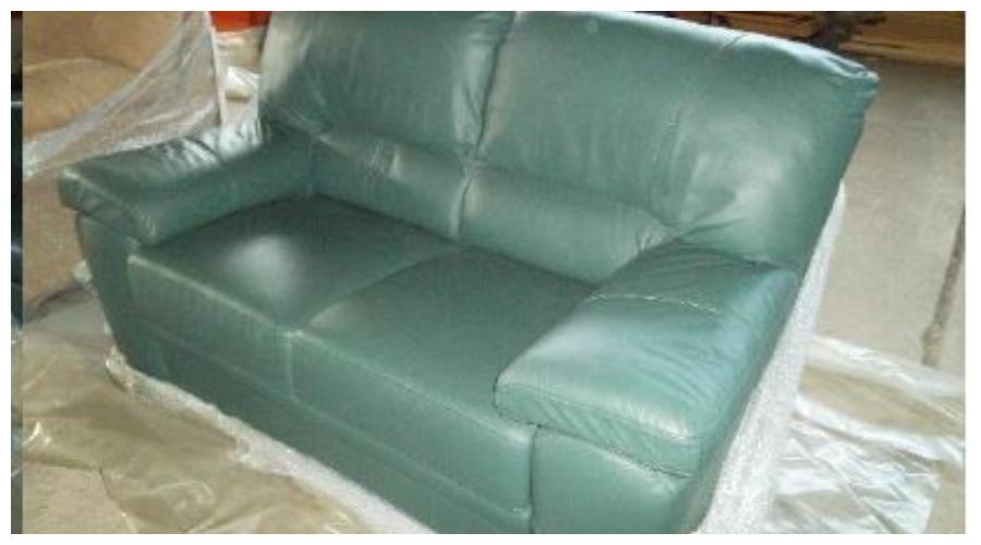 7.10.2019 Dražba nábytku (Sedačka dvojsed, kůže zelená). Vyvolávací cena 4.100 Kč, ➡️ ID645309