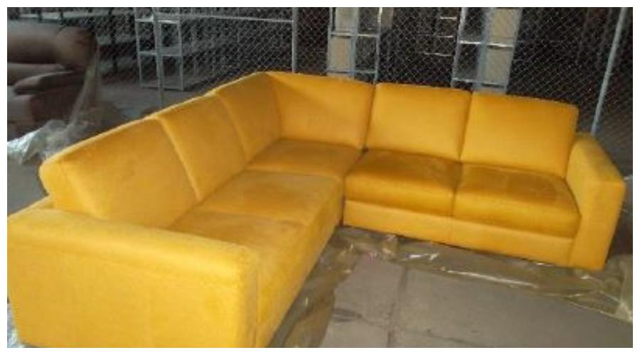 7.10.2019 Dražba nábytku (Sedačka rohová, látka žlutá). Vyvolávací cena 6.700 Kč, ➡️ ID645313