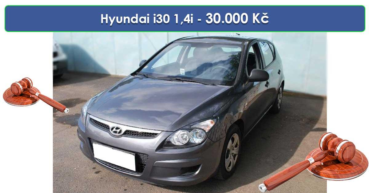 Do 19.9.19 Aukce automobilu Hyundai i30 1,4i CVVT Classic, Vyvolávací cena 30.000 Kč. ID nabídky 644440